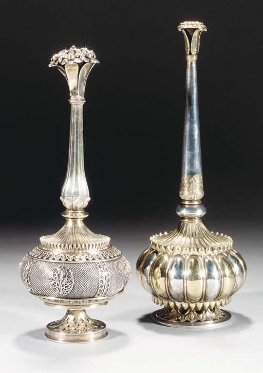 Two similar Indian silver and