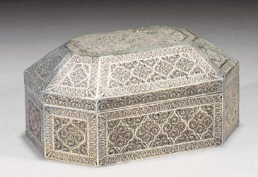An Indian silver gilt filigree box and cover, 18/19th Century