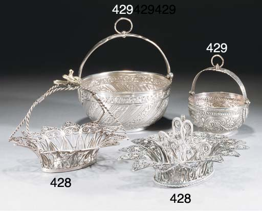 Two Ottoman silver hanging bowls, 19/20th Century