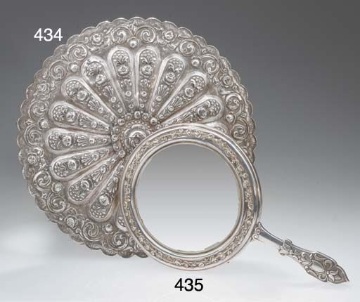 An Ottoman silver hand mirror,