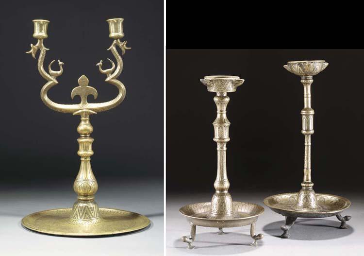 Two similar Ottoman bronze oil
