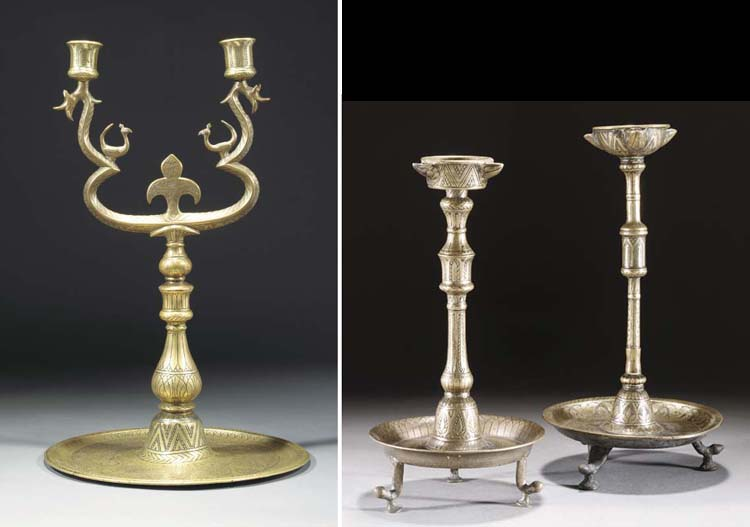 Two similar Ottoman bronze oil burners, 18/19th Century