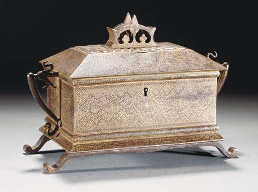 A Koftgari casket and hinged c