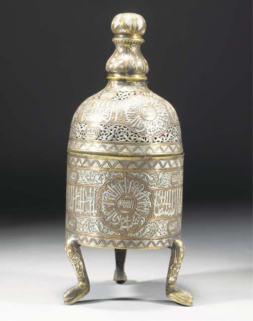 A Cairoware incense burner and