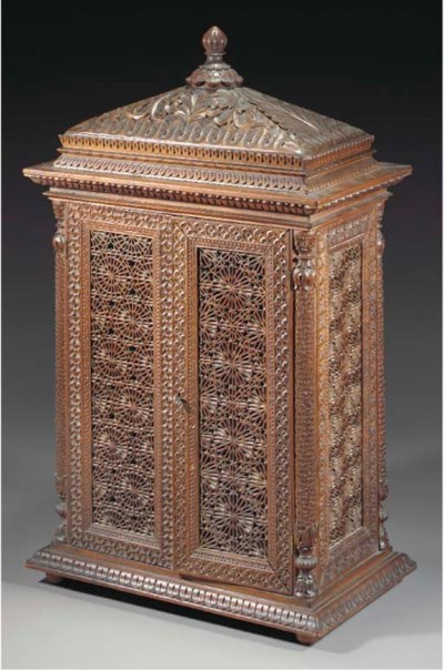 An Anglo-Indian carved wood ta