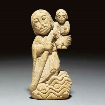 A Carved Sandstone Figure of S