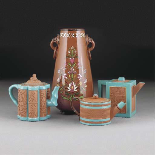 Three Watcombe Teapots and Cov