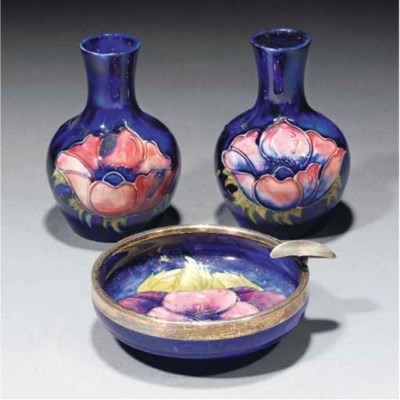 A Moorcroft Pansy Silver Mount
