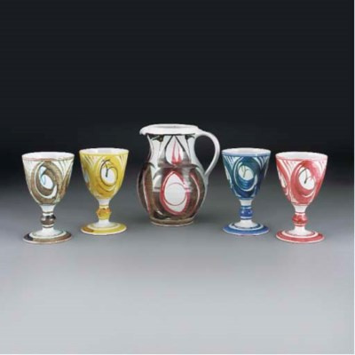 Four Alan Caiger Smith Goblets