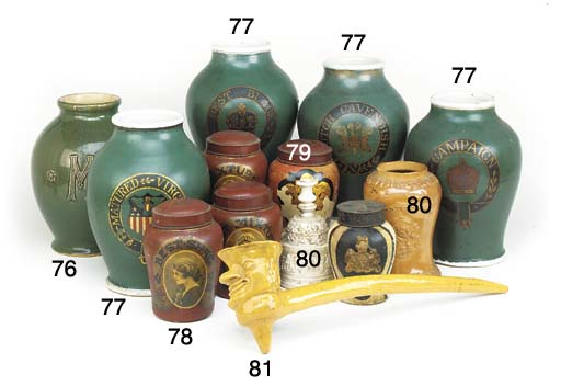 Three pottery tobacco storage