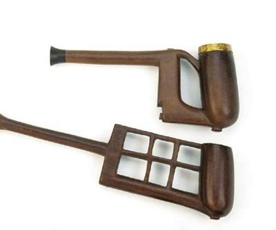 Six Zulu wood pipes