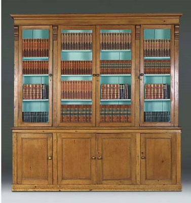 A LATE VICTORIAN PINE LIBRARY