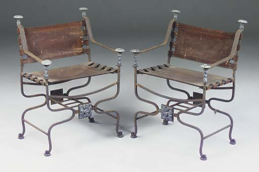 A PAIR OF WROUGHT IRON AND LEA