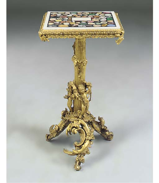 A GILTWOOD AND SPECIMEN MARBLE