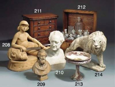 A terracotta model of David wi