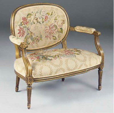 A FRENCH GILTWOOD LOVE SEAT