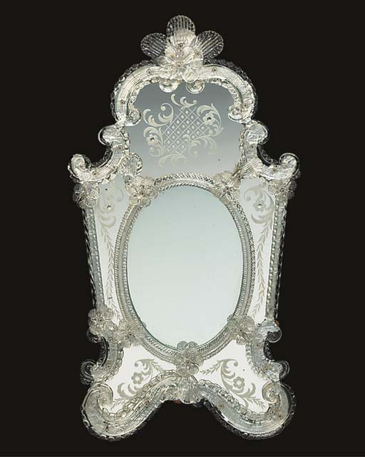 An etched and moulded glass wa