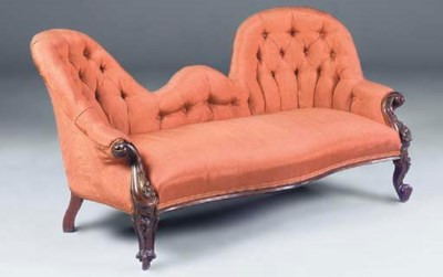 A MID VICTORIAN TWIN CHAIR BAC