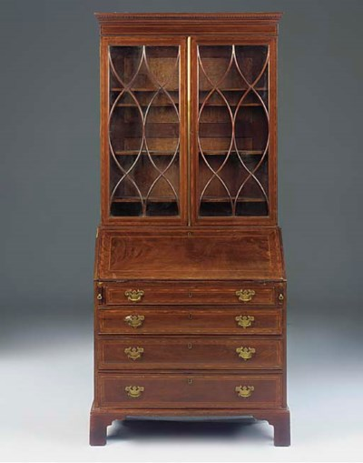 A MAHOGANY AND INLAID BUREAU B