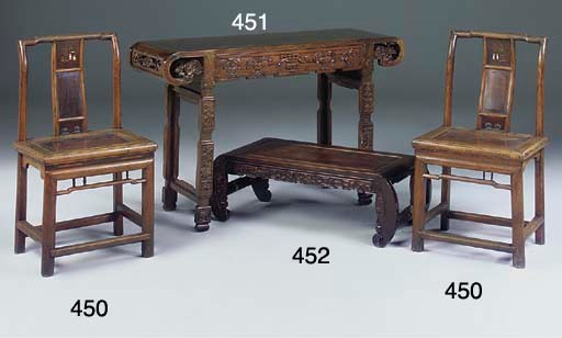 A PAIR OF CHINESE HARDWOOD SID