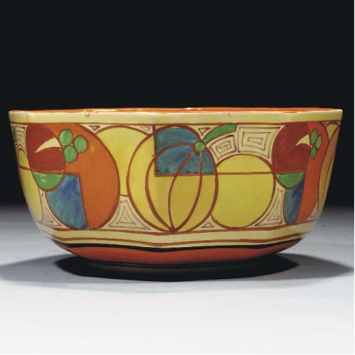 A Melon Octagonal Bowl