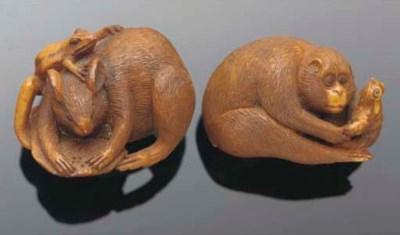 Three stained ivory netsuke, e