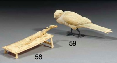 A Japanese ivory model of a bi