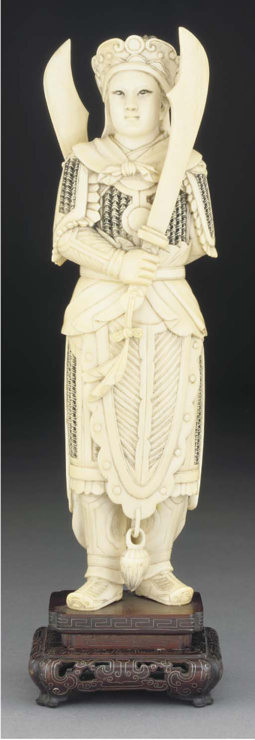 A Chinese ivory model of a war
