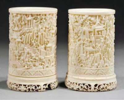 Two Cantonese ivory brushpots,