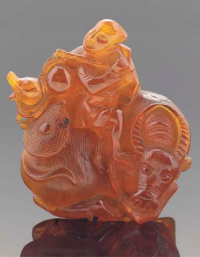 A Chinese amber group, 19th ce