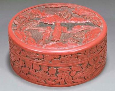 A Chinese cinnabar lacquer box