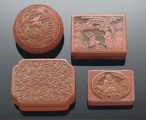 A group of four Chinese cinnab
