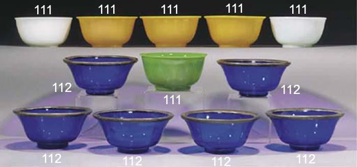 A group of six Peking glass bo