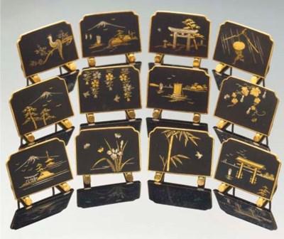 A set of twelve Japanese komai