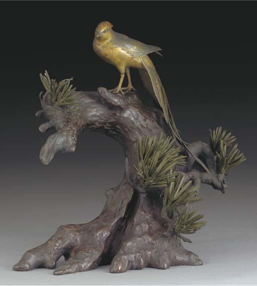 A Japanese patinated bronze bi