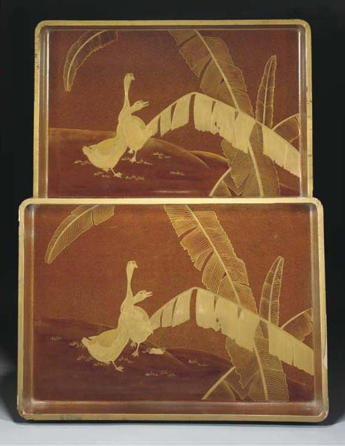 Two Japanese gold lacquer larg