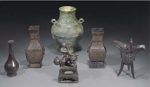 A group of six Chinese bronze