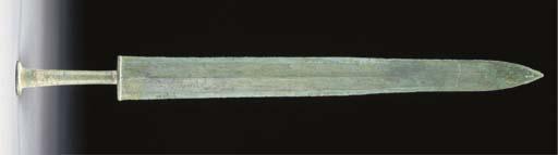 A Chinese bronze sword, Warrin