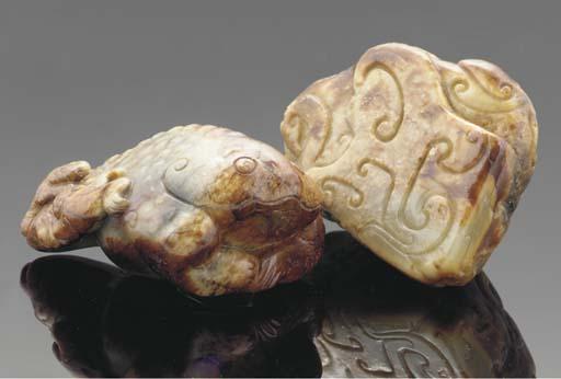 A Chinese mottled jade model o