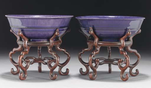 Two Chinese purple glazed bowl