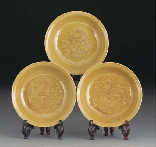 Three Chinese yellow glazed sa