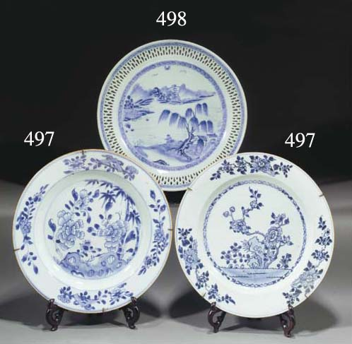 Six Chinese blue and white dis