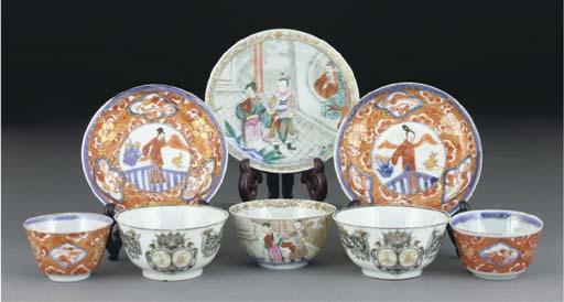 Nine Chinese famille rose tea