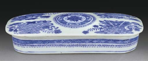 A Chinese oval blue and white
