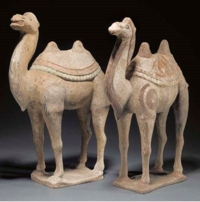 Two pottery models of camels,