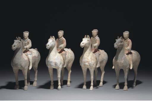 Four Chinese painted pottery h