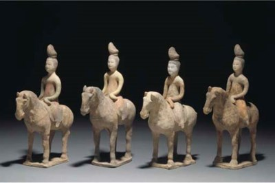 Four Chinese painted pottery m