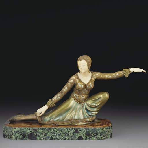 A gilt and cold-painted bronze