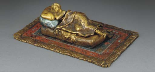 A cold-painted erotic bronze f