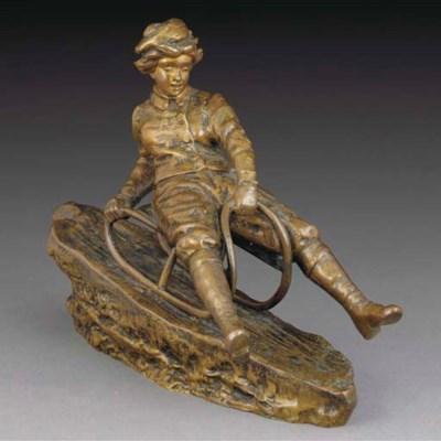 'Sledding' a patinated bronze